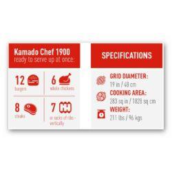 Kamado Chef 1900 Prestige Red Smooth (rozsdamentes acél)