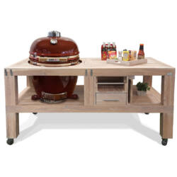 "Kamado Chef grill asztal 19""-os kamado grillhez - tölgy vintage white"